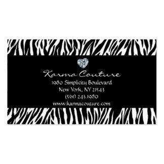 negro del estampado de zebra con el diamante en tarjetas de visita