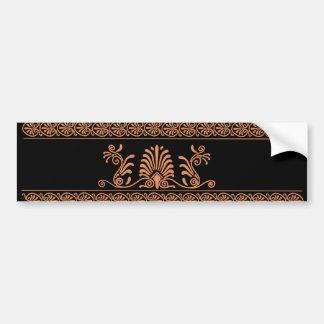 Negro del estilo del griego clásico y diseño flora etiqueta de parachoque