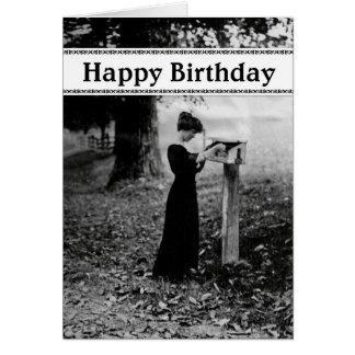 Negro del feliz cumpleaños del buzón del vintage tarjeta de felicitación
