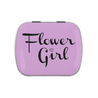 Negro del florista en púrpura latas de dulces