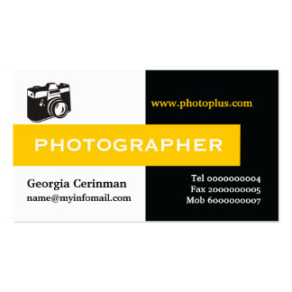 Negro del fotógrafo, blanco, amarillo llamativo tarjetas de visita
