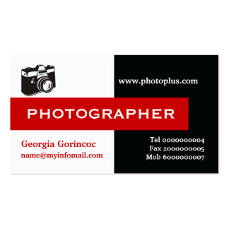 Negro del fotógrafo, blanco, rojo llamativo tarjetas de visita