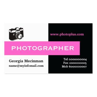 Negro del fotógrafo, blanco, rosa fuerte llamativa tarjetas de visita