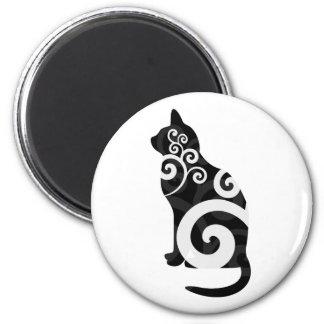Negro del gato de Swirly Imanes Para Frigoríficos