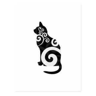 Negro del gato de Swirly Postal