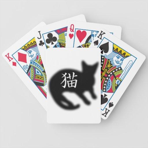 Negro del gato del kanji baraja cartas de poker