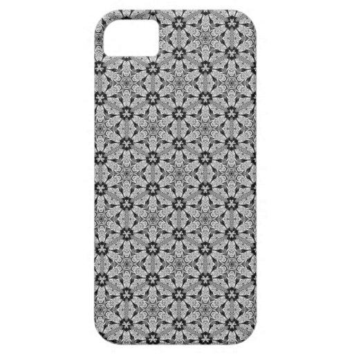 Negro del hexágono de Geo + Caso de plata del iPhone 5 Case-Mate Carcasa