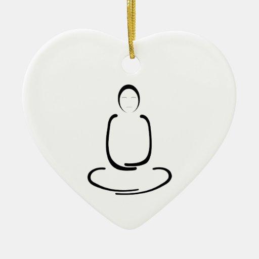 Negro del hombre de la meditación adorno de cerámica en forma de corazón