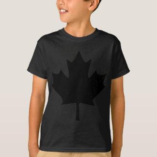 negro del icono de la hoja de arce de Canadá Remeras