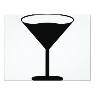 negro del icono del cóctel del fiesta invitación 10,8 x 13,9 cm