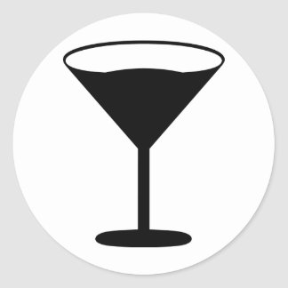negro del icono del cóctel del fiesta pegatina redonda