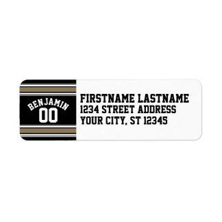 Negro del jersey de los deportes y número conocido etiquetas de remite