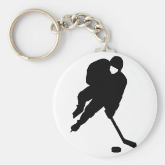 negro del jugador de hockey llavero personalizado