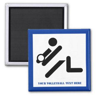 Negro del jugador de voleibol, blanco, imán cuadrado