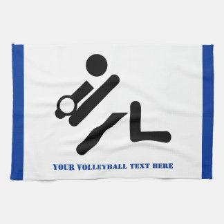 Negro del jugador de voleibol, blanco, toallas