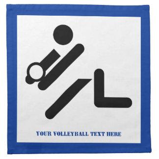 Negro del jugador de voleibol, blanco, servilletas imprimidas