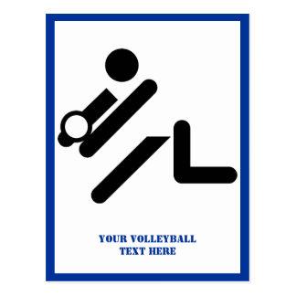 Negro del jugador de voleibol, blanco, postal