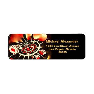 Negro del jugador del casino, oro, iconos rojos etiqueta de remite