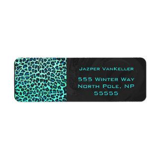 Negro del leopardo e impresión del trullo etiqueta de remitente