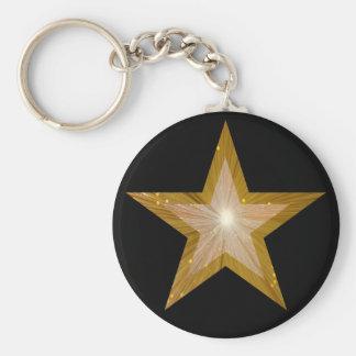 Negro del llavero de la estrella del oro