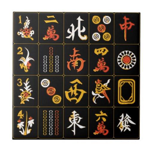 Negro del Mah Jongg/teja anaranjada/amarilla