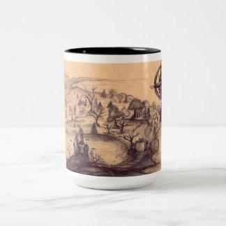 Negro del mapa del encantamiento taza de café del