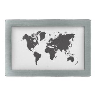 negro del mapa del mundo hebillas cinturon