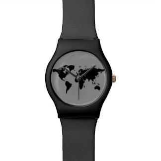 negro del mapa del mundo reloj