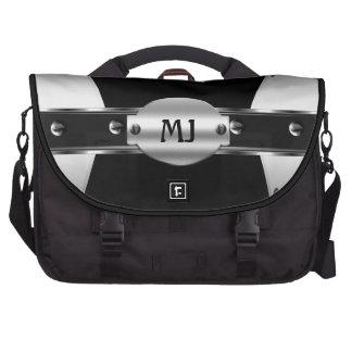 Negro del metal plateado de la mirada del cromo pa bolsas para portatil