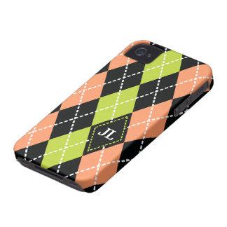 Negro del modelo de Argyle, coral, monograma verde Case-Mate iPhone 4 Funda