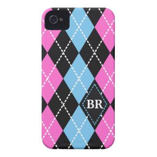 Negro del modelo de Argyle, rosa, monograma azul Case-Mate iPhone 4 Protector