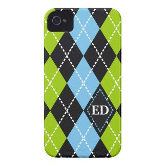 Negro del modelo de Argyle, verde, monograma azul Case-Mate iPhone 4 Protector