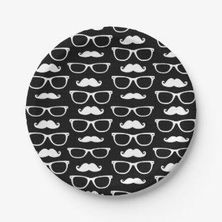 Negro del modelo de punto del bigote y de los platos de papel