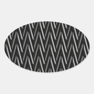 Negro del modelo de Trival del zigzag Pegatina Ovalada