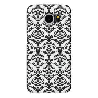 Negro del modelo del damasco de Cresta en blanco Funda Samsung Galaxy S6