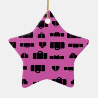 Negro del modelo del equipaje adorno navideño de cerámica en forma de estrella