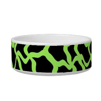 Negro del modelo y verde de cal gráficos abstracto tazón para comida gato