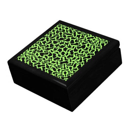 Negro del modelo y verde de cal gráficos abstracto caja de recuerdo