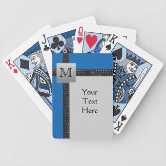 Negro del monograma, azul, naipes grises baraja de cartas