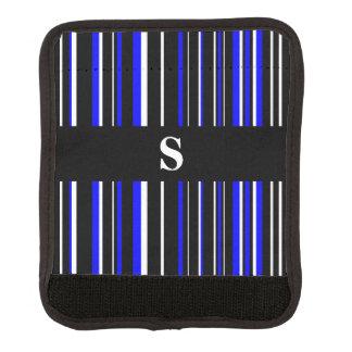 Negro del monograma, azul, raya blanca del código funda para asa de maleta