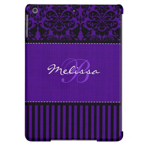 Negro del monograma, caja púrpura del aire del iPa Funda Para iPad Air
