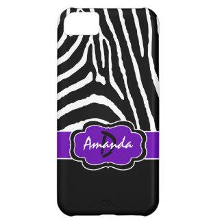 Negro del monograma, caja púrpura del iPhone 5C de