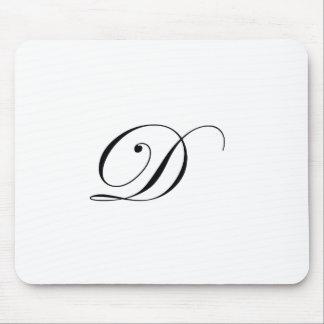 Negro del monograma D Alfombrilla De Ratones