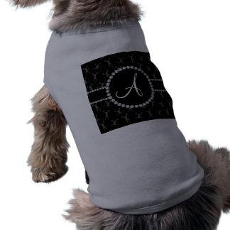 Negro del monograma que anima el círculo negro playera sin mangas para perro