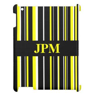Negro del monograma, raya amarilla del código de