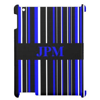 Negro del monograma, raya azul del código de