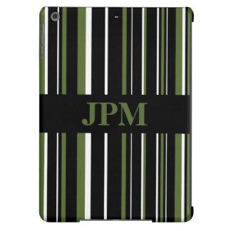 Negro del monograma, raya del código de barras del funda para iPad air