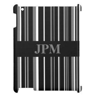 Negro del monograma, raya gris del código de