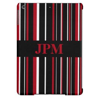 Negro del monograma, raya rojo oscuro del código funda para iPad air