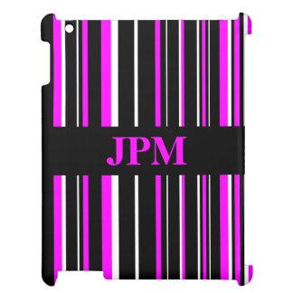 Negro del monograma, raya rosada del código de